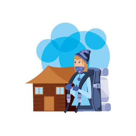 traveler woman with travel bag and log cabin vector illustration design Ilustrace