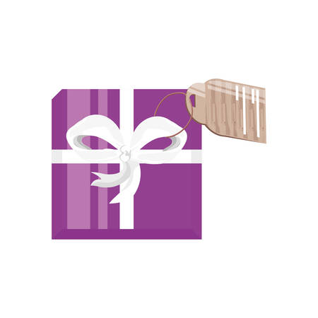 view aerial of gift box with tag vector illustration design