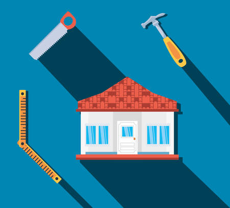 facade of house construction with set tools vector illustration design