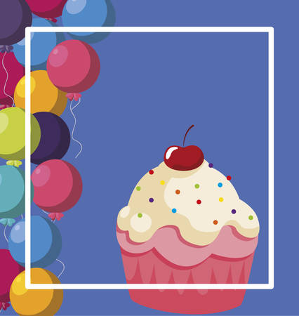 sweet cupcake birthday with balloons helium frame vector illustration design Stockfoto - 132240979