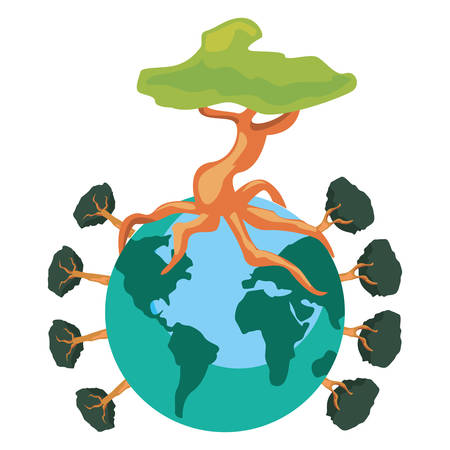 world with trees around happy earth day vector illustration