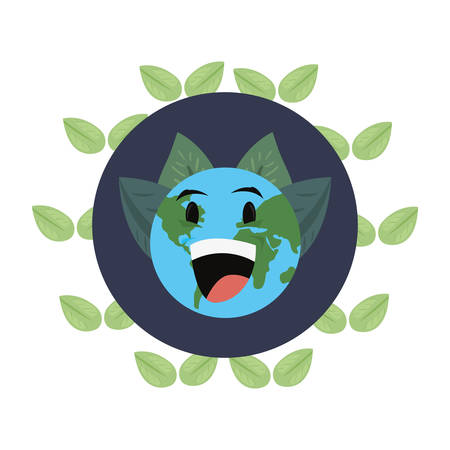 world cartoon leaves foliage earth day vector illustration Çizim