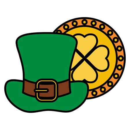 st patricks leprechaun hat with clover coin vector illustration design