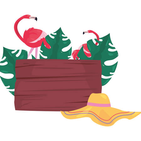 summer time holiday hat flamingos leaves wooden board vector illustration Çizim