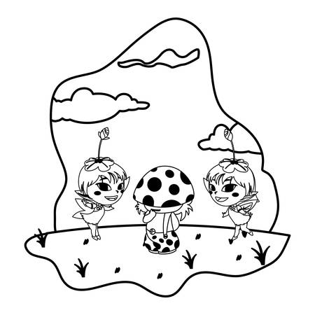 beautiful magic fairies with fungu elf in the garden vector illustration design Çizim