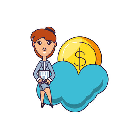 business woman with coin dollar and cloud vector illustration design