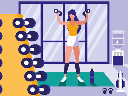 young athletic woman lifting dumbbells in gym vector illustration design Çizim