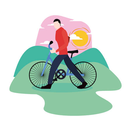man with bicycle panoramic outdoors vector illustration Çizim