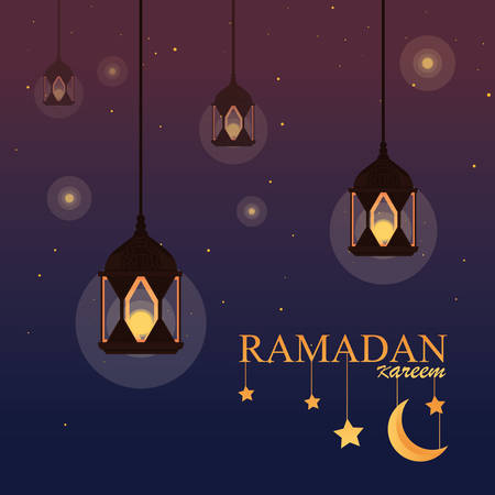 ramadan kareem lamps hanging traditional vector illustration design
