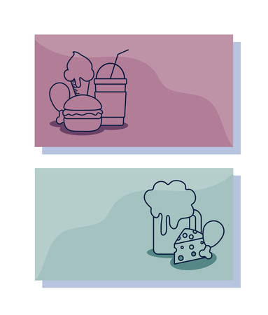 delicious ice cream with set food  character vector illustration design Çizim