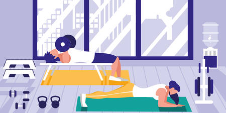 young athletic couple doing chest push ups in gym vector illustration design