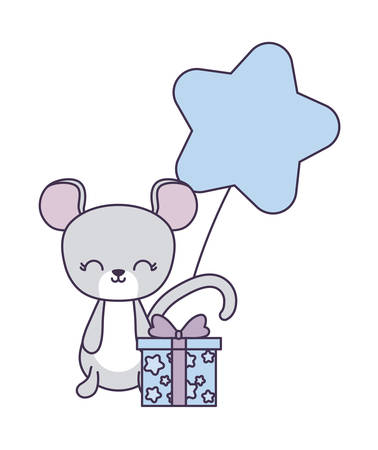 cute mouse with gift box and balloon helium vector illustration design