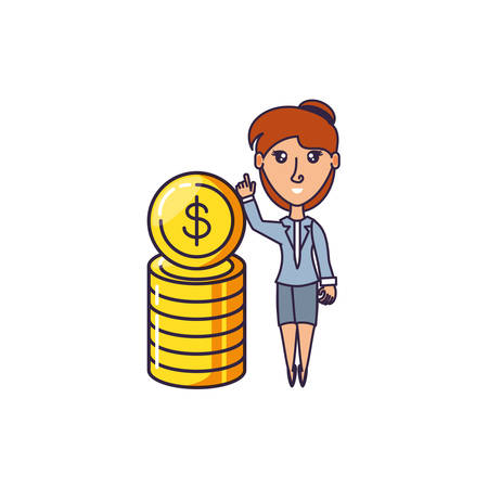 business woman with pile coins vector illustration design 일러스트