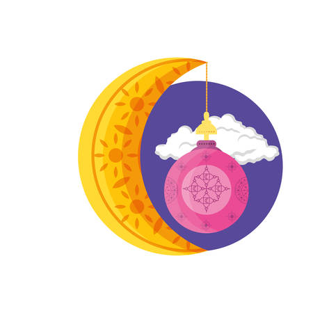 ramadan kareem lantern and moon hanging vector illustration design