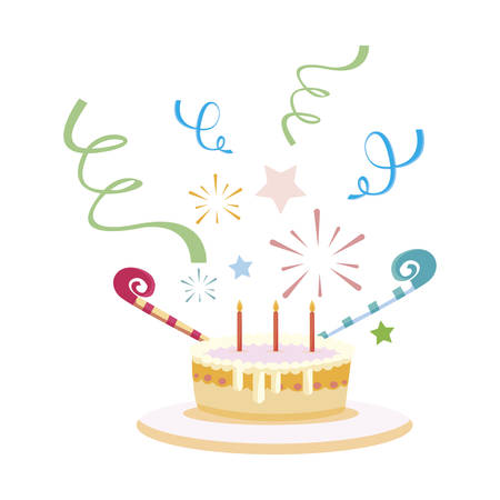 sweet cake birthday with candles vector illustration design Stockfoto - 132246410