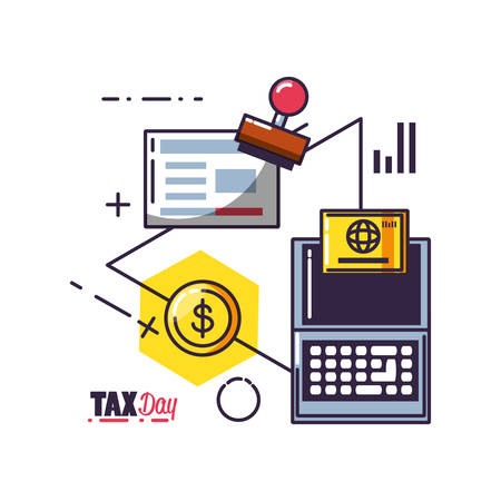 tax day with laptop computer and set icons vector illustration design