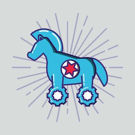 trojan horse infection virus vector illustration design
