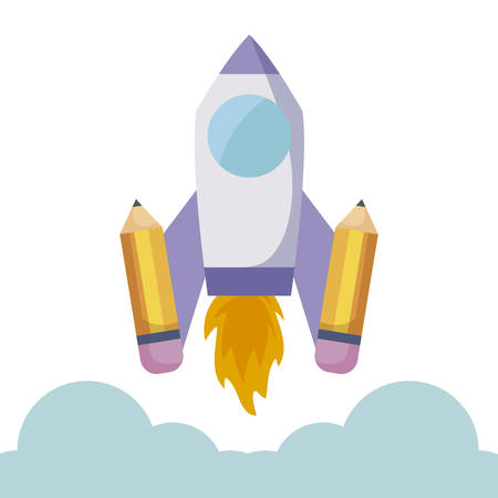 rocket launcher with pencils vector illustration design