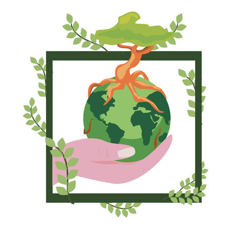 hand holding world with tree frame leaves earth day vector illustration