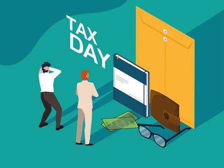 businessmen in tax day with envelope and icons vector illustration design Ilustração