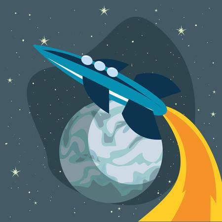 rocket spaceship planet explore galaxy vector illustration