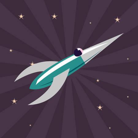 rocket spaceship galaxy stars cosmos vector illustration