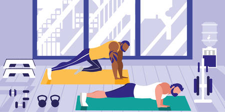 young athletic men doing chest push ups in gym vector illustration design