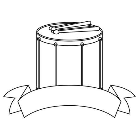 drum sticks ribbon on white background vector illustration  イラスト・ベクター素材