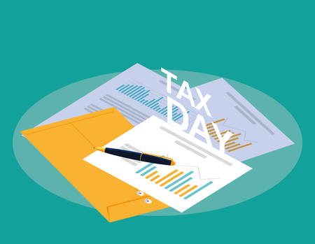 tax day with statistic document and set icons vector illustration design