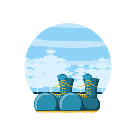boots travel with landscape isolated icon vector illustration design