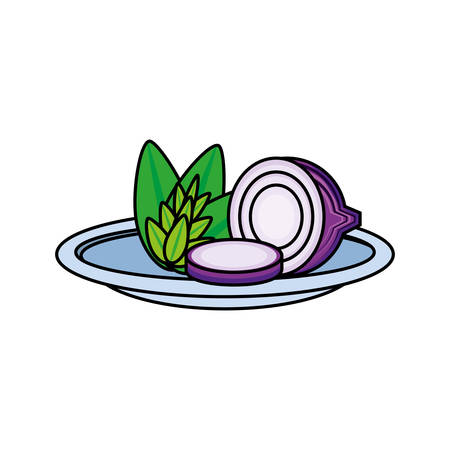 fresh onion in dish vegetable icon vector illustration design