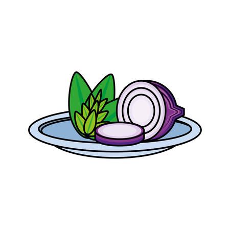 fresh onion in dish vegetable icon vector illustration design