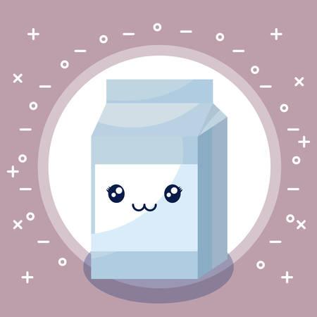 milk in box character vector illustration design