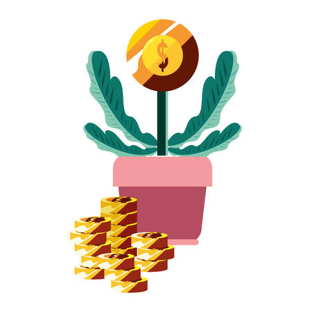 potted plant coin money fortune vector illustration