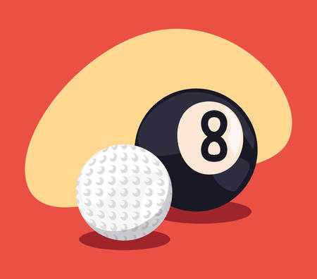 golf and billiard sport balls equipment vector illustration