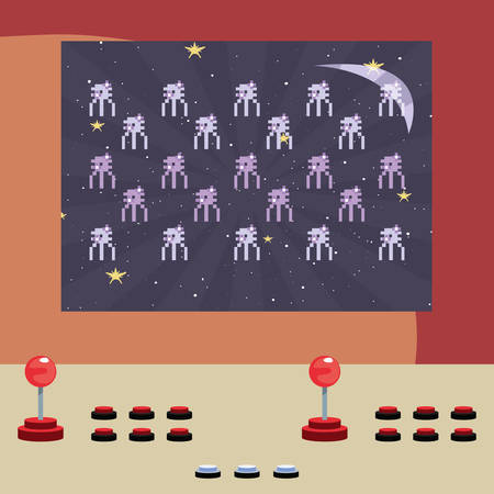 arcade game screen with pixel invaders vector illustration