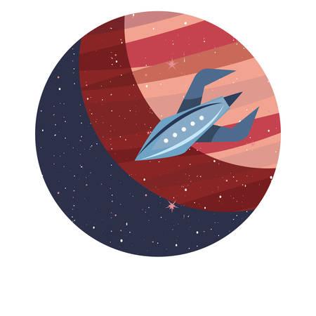 rocket planet space mission explore vector illustration design
