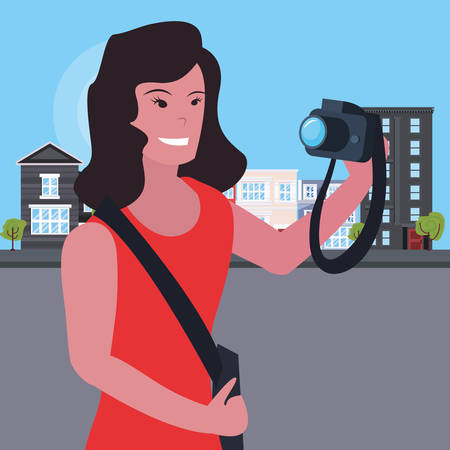 female photographer and labour day vector illustration