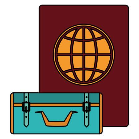 suitcase travel with passport document vector illustration design  イラスト・ベクター素材