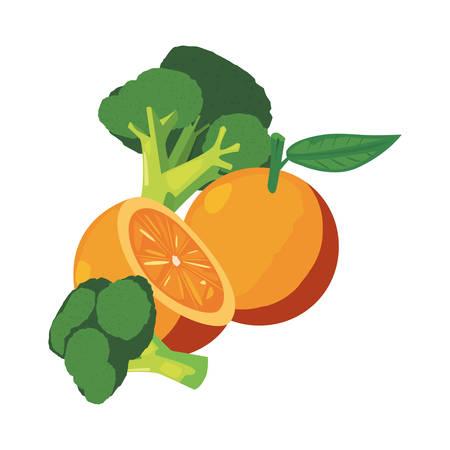 orange broccoli fresh food vector illustration design