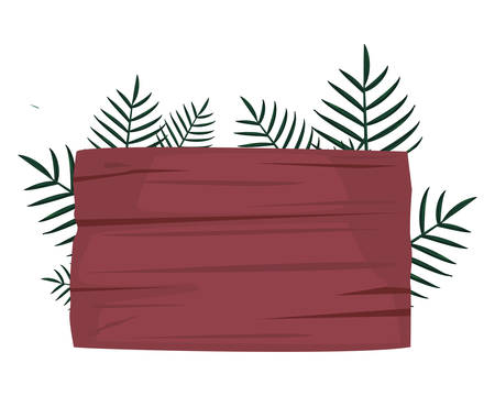 summer time holiday wooden board palm branches vector illustration