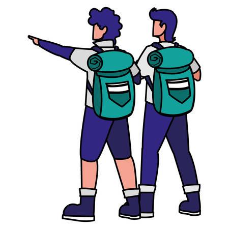 adventurous men with travelbag vector illustration design Illusztráció