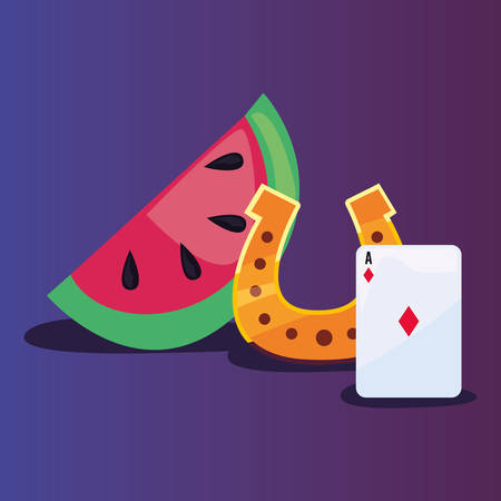 ace card watermelon and horseshoe casino game bets vector illustration
