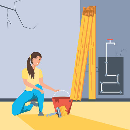 woman painting interior of house under construction vector illustration design