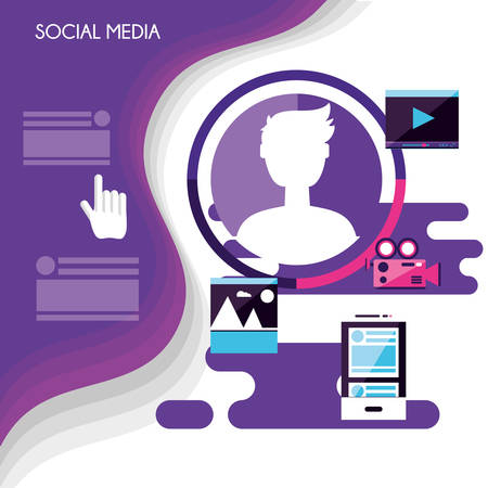 social media set icons vector illustration design