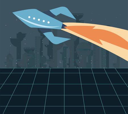 rocket flying futuristic space exploration vector illustration