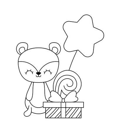 cute chipmunk with gift box and balloon air vector illustration design Ilustración de vector