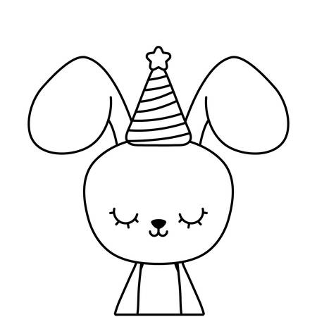 cute rabbit with hat party vector illustration design Illustration