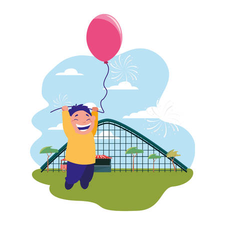 smiling boy holding balloon park amusement vector illustration Ilustrace