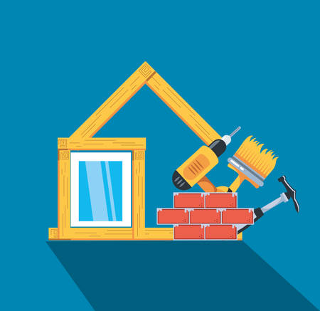 facade of house in wooden under construction with set tools vector illustration design